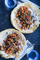 Majspandekager med fyld af kikærter, spinat og butternut-squash