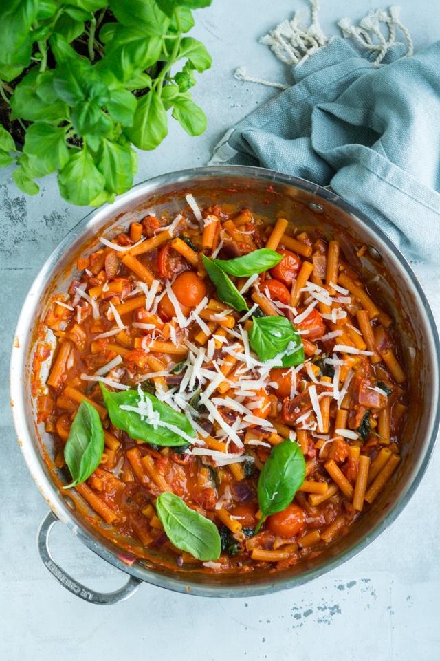 Vegetarisk one-pot pasta