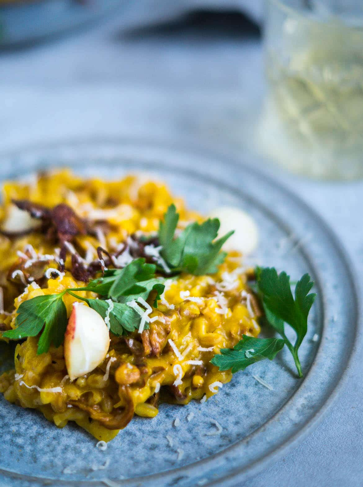 risotto med svampe og hvidvin