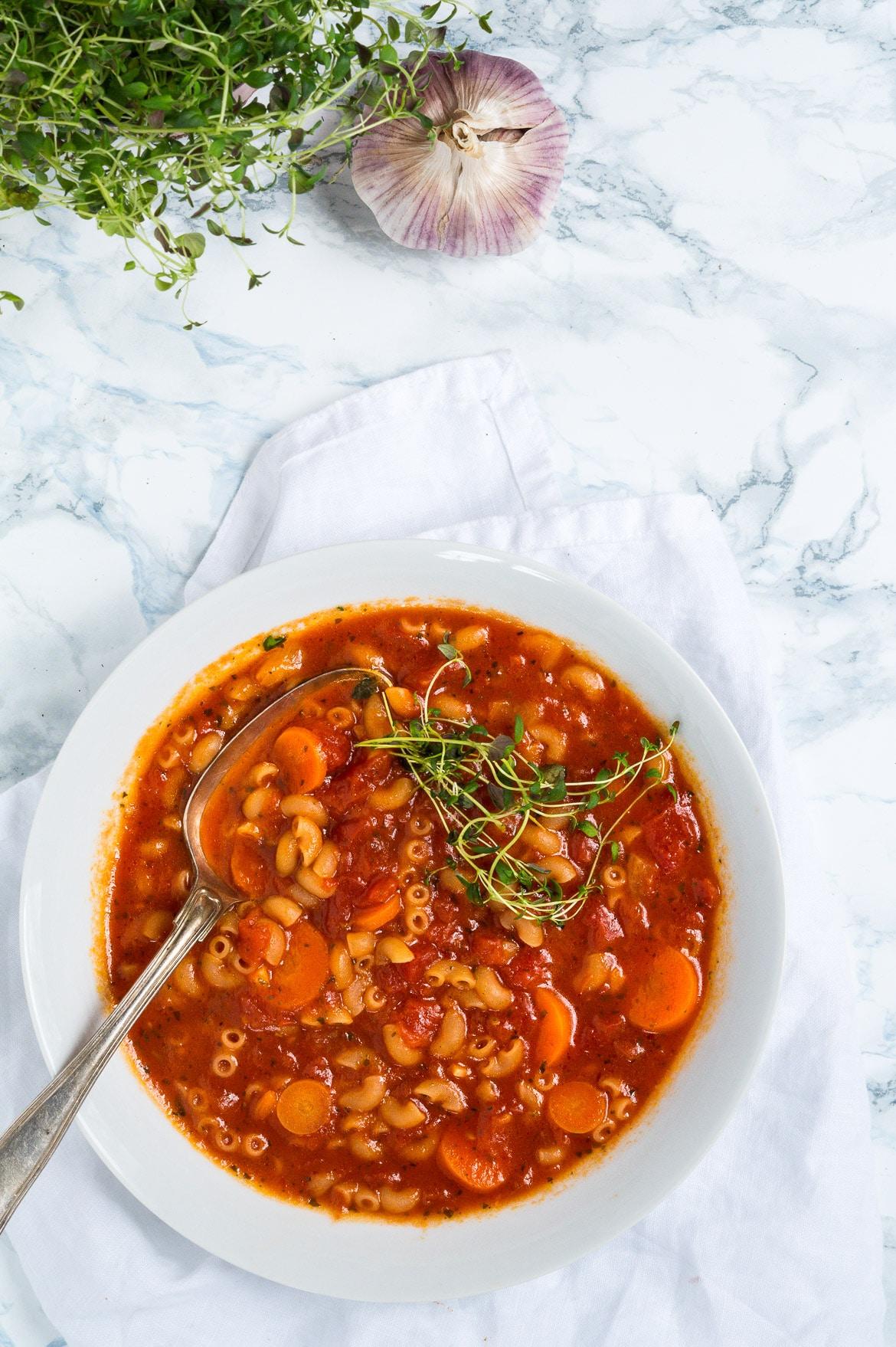 vegetarisk minestronesuppe