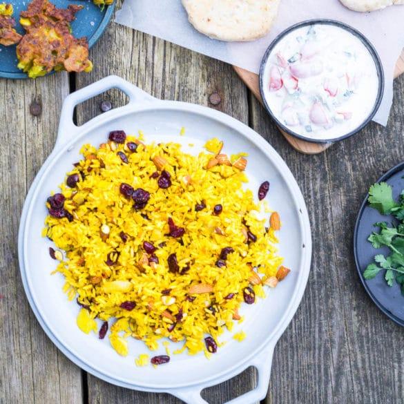 Indiske gule ris - tilbehør til indisk curry