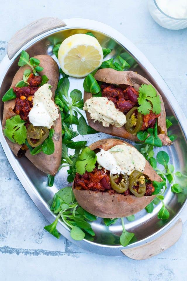 Fyldte søde kartofler med mexicansk fyld