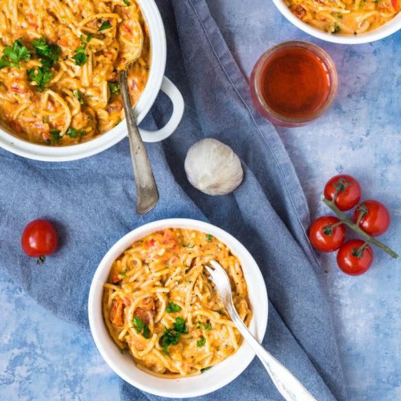 Vegetarisk cremet onepot pasta