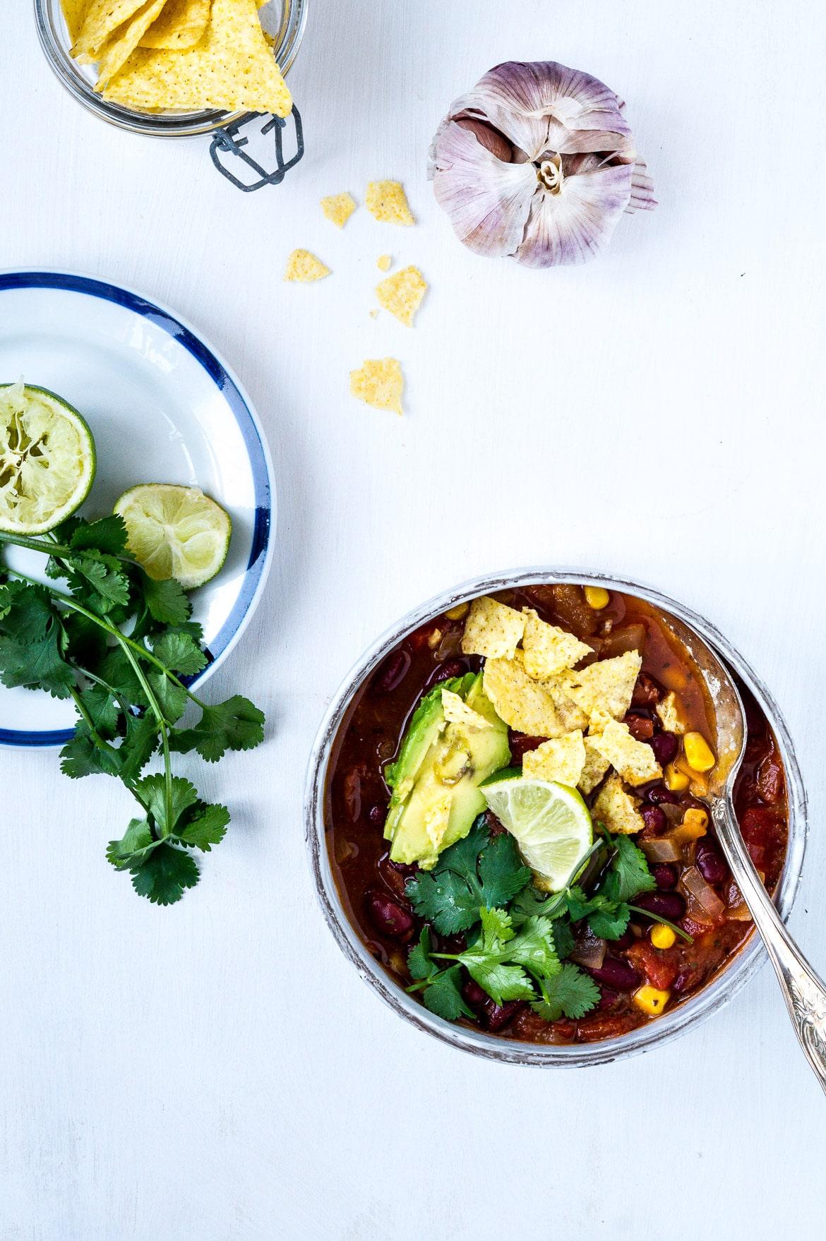 Vegetarisk tacosuppe