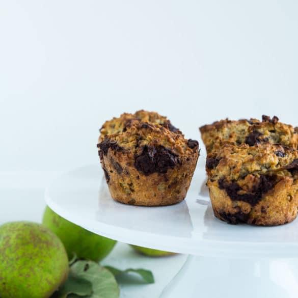 Pæremuffins med chokolade - skønne madpakkemuffins med pære