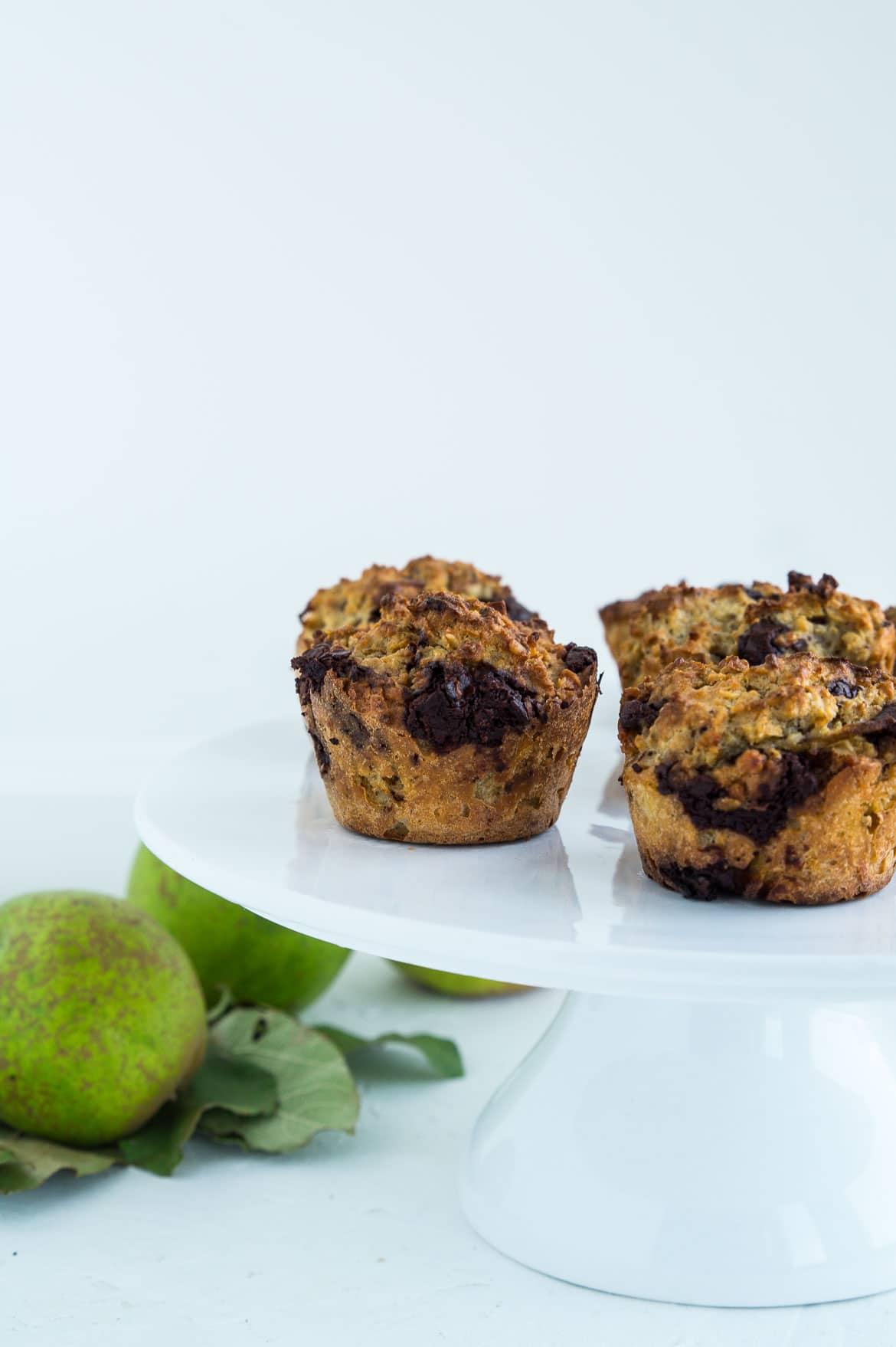 Pæremuffins med chokolade