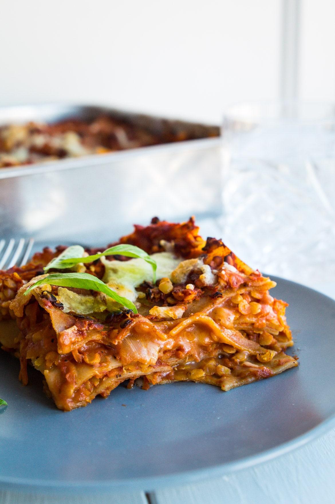 Vegetar lasagne - vegetarisk linselasagne