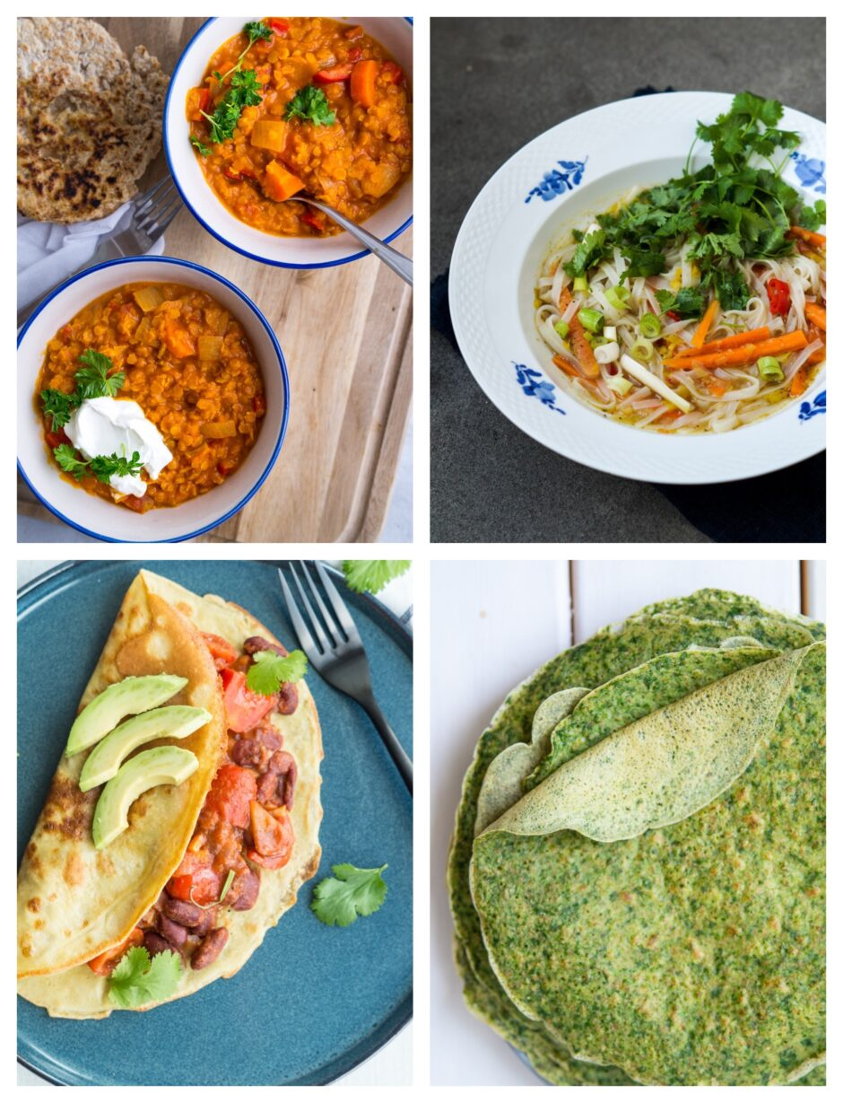 vegetarisk madplan med indkøbsliste