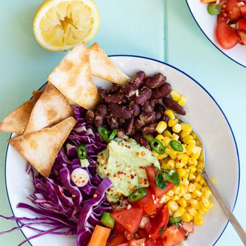 Tacobowl med avocado-mayo creme