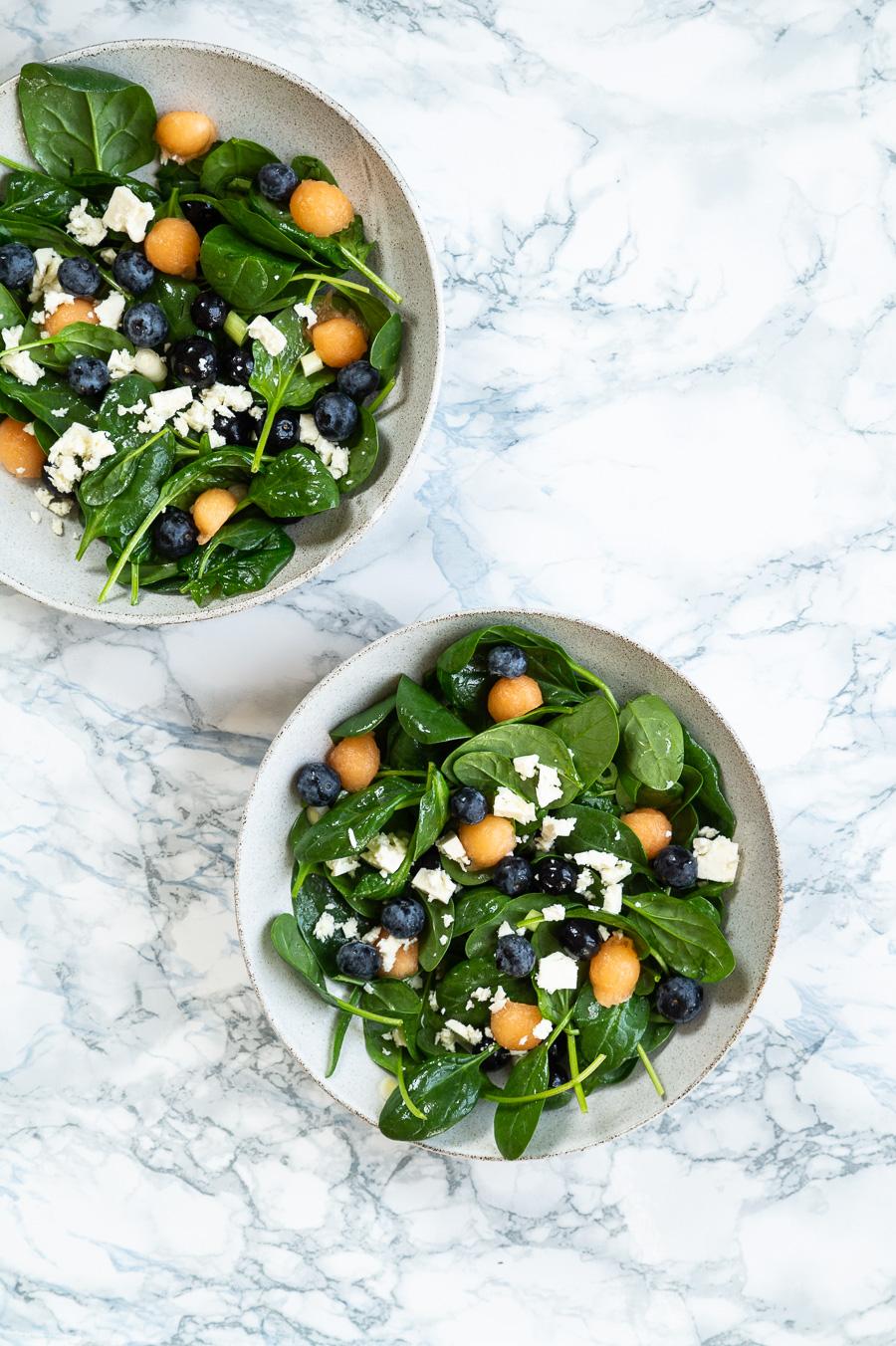 Melonsalat med spinat