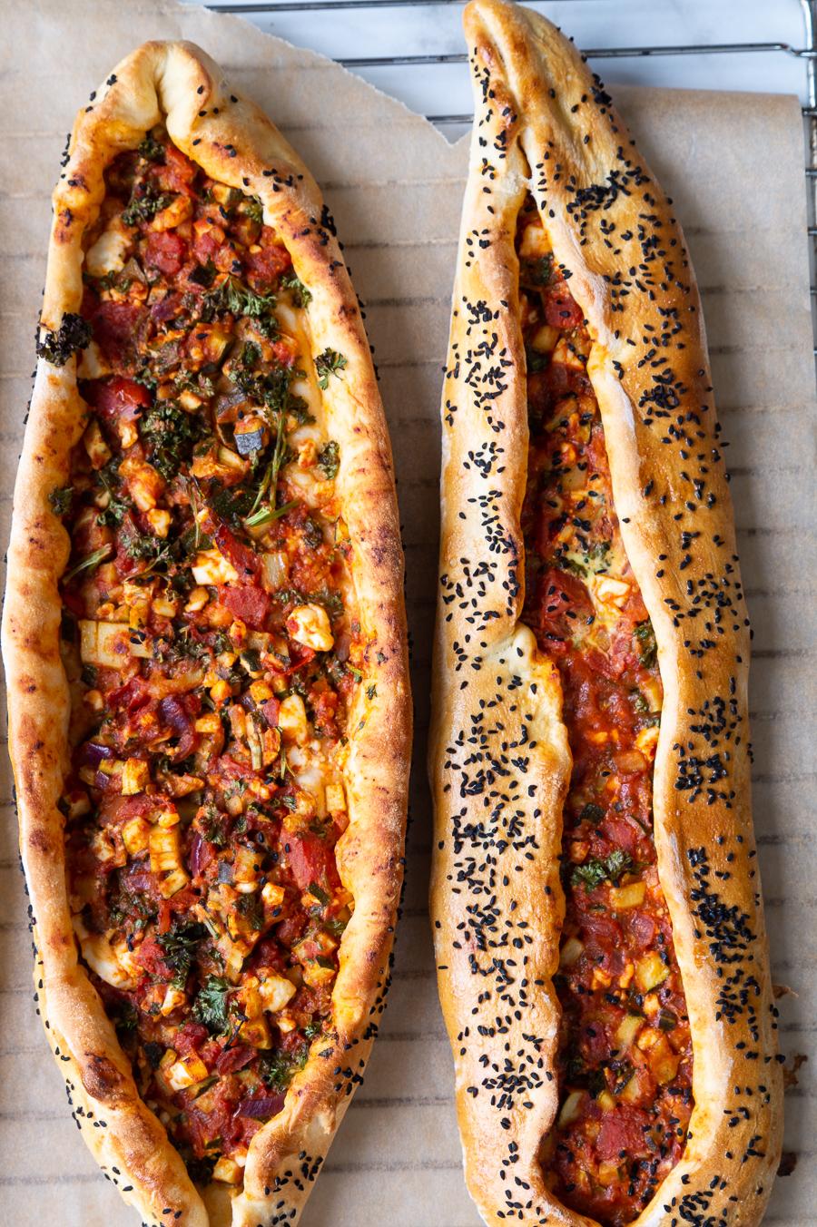 vegetarisk tyrkisk pide