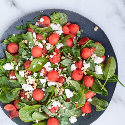 Salat med vandmelon og feta